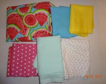 Assorted Lot of Seersucker Fabric Pieces
