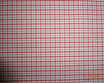 Small Checked Cotton Fabric by the yard - Red, White & Gray Checked Fabric