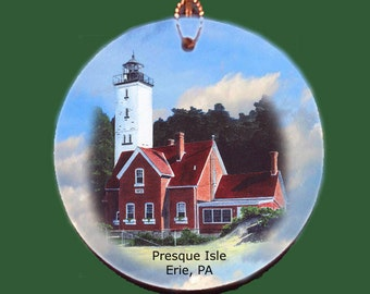 Presque Isle Lighthouse in Erie PA Ornament