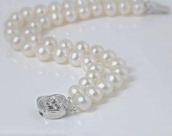 Genuine pearls double strand bracelet, aaa, freshwater pearl,  wedding jewellery, bridal, holiday gift