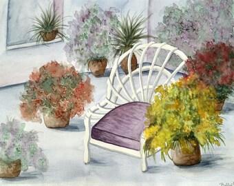 16x20 Original Watercolor Peaceful Garden.  Garden Landscape Purple Color, Flowers, Home Décor , Wall Hanging Art