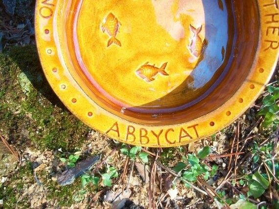 Personalized Ceramic Cat Bowl -- Hemingway Quote Cat Bowl with Your Cat's name, choose the color, MADE TO ORDER
