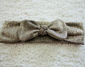 Gray Glitter Knot Headband- Sizes Newborn- Toddler