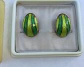 Sale Ends July 5 11pm Vintage Earrings - David Andersen Sterling Silver Green Enamel Earrings  - Clip-Back