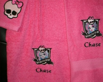 Monster High Abby  Personalized 3 piece Towel Set Bath, Hand, Washcloth Monster High ANY MONSTER