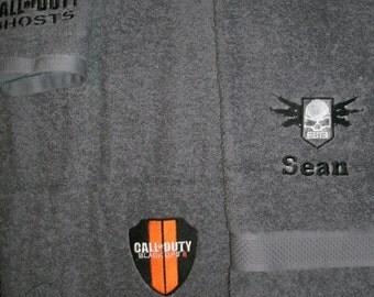 Personalized Call of Duty 3 piece Bath towel, hand towel & Washcloth Set
