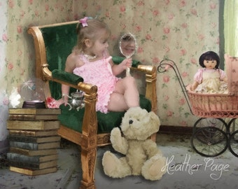 10x8 art print, children's, room, fairy, magical, magic, teddy bear, doll, books,