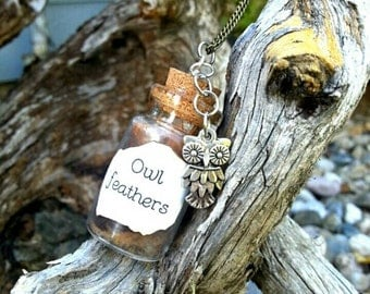 Owl Feathers - Mini Bottle Charm - Brown Feathers