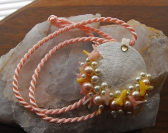 Sand Dollar, Coral And Pearls Pendant, Dainty Pink And White Seashore Necklace