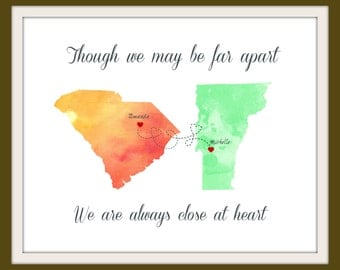 Best Friend Long Distance Present, Going Away Gift for BFF, Sister Gift, Birthday Gift for Best Friend, Two-State Personalized Map - 50377