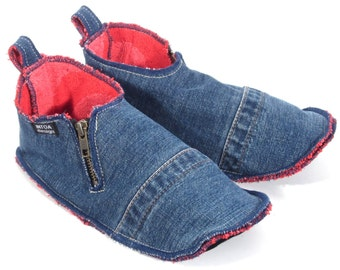Denim Slippers of recycled jeans, zippered