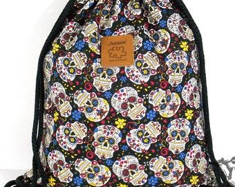 10% OFF [Origi 14.99] Sugar Skull drawstring bag Canvas Backpack Cotton Laptop bag Hip bag Handmade bag