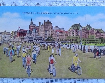 Postcard - 1940's - Bicycling on the Boardwalk, Atlantic City, N. J.