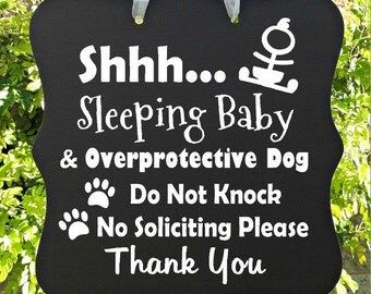 Sleeping Baby Sign, Overprotective Dog, Do Not Knock, No Soliciting, Thank You, Baby Sleeping Sign, Door Hanger