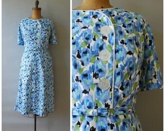 Aquarelle dress • 1950s cotton wiggle dress