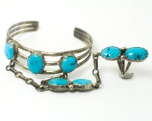 Silver, Turquoise Slave Bracelet with Southwestern Blue Turquoise in Handmade, Rustic Sterling Silver in Vintage Bracelet Southwestern