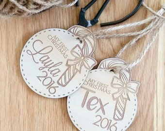 Personalised Christmas decorations. Christmas baubles. My first Christmas.