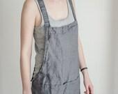Grey short square cross linen apron/japanese style apron. Washed dark grey/gray/graphite natural, eco - friendly, handmade linen apron.