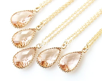 10% OFF, Bridesmaid gifts, Set of 7,8,9,10, Peach necklace, Peach champagne teardrop necklace, Bridal peach jewelry, Peach wedding jewelry,