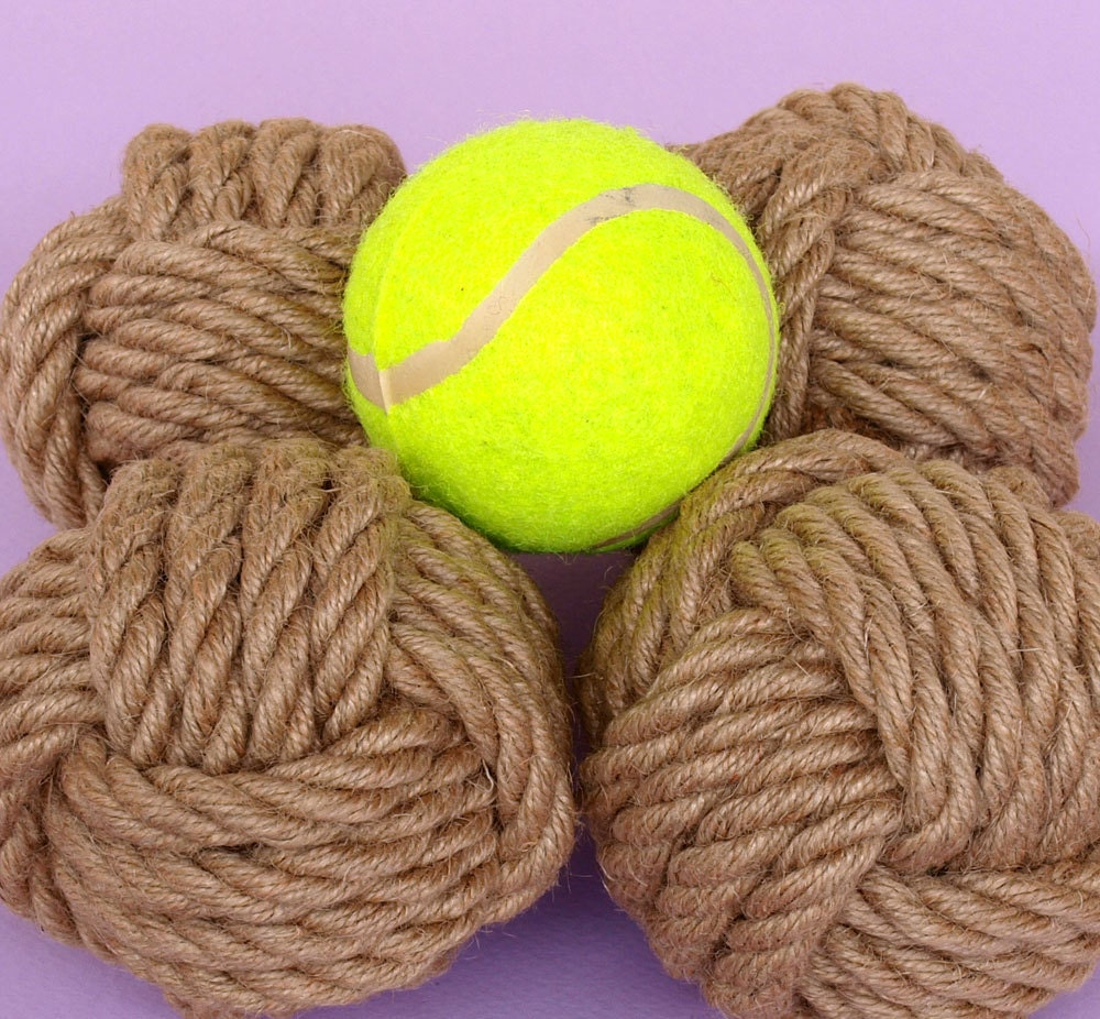 Set of 6 nautical rope knots large monkey fists home for Large nautical rope