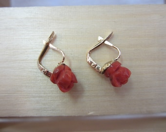 Coral Flower Earrings, Rose Coral Earrings, European Back Earrings