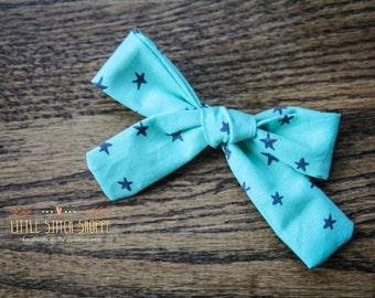 Fabric Bow, Hair Bow, Hair Clip, Toddler Bow, Baby Bow, Alligator Clip- Blue Stars