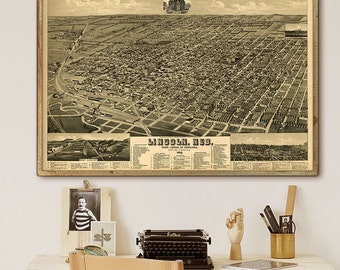 "Lincoln map 1889, Vintage map of Lincoln, NE in 4 sizes up to 54x36"" Large map of Lincoln Nebraska, also in blue - Limited Edition of 100"