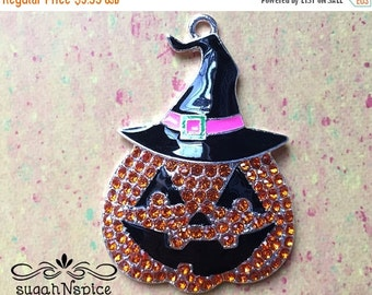Back to School Sale Pumpkin Rhinestone Pendant - 47mm X 35mm - Pumpkin Witch Rhinestone Pendant - Chunky Bubble gum Necklace Pendant - Hallo