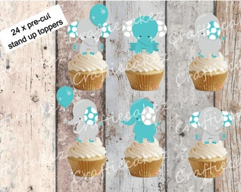 24 x Pre Cut Edible Baby Blue Elephant Stand Up Cupcake Toppers