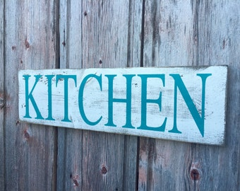 Hand Painted Kitchen Sign - Teal Kitchen Sign - Blue Kitchen Sign - White Kitchen Sign - Wooden Kitchen Sign - Distressed Kitchen Sign
