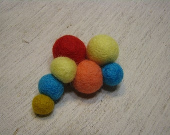 Brooch in handmade with felted balls