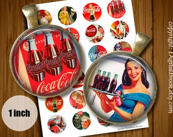 Digital Bottle Cap Images Vintage Coca Cola Posters1inch 25mm Printable Circles Download for pendants magnets - 231