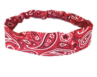 Red Bandana Headband Elastic Headband Paisley Hairband Womens Hair Accessories