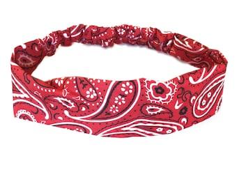 Red Bandana Headband Elastic Headband Paisley Hairband Womens Hair Accessories