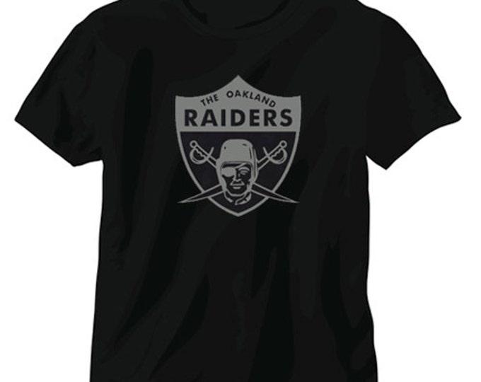 Oakland Raiders Vintage Style Logo T-Shirt Silver Black Carr Cooper