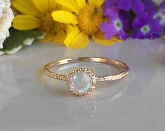 20% off- SALE!! Rainbow Moonstone Ring - Genuine Gemstone - Gold Ring - Bridal Jewelry - Tiny Ring - June Birthstone - Simple Jewelry