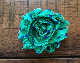 Green with Blue Polka Dots, Little Girl Headbands, Summer Headband