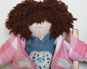 Adorable Little Souls Soft Sculptured Doll with Real Child's Clothes - Dark Brown Hair