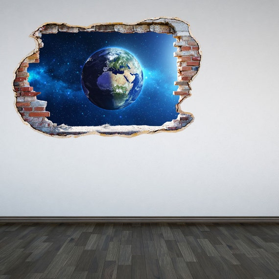 Planet earth wall decal smahed wall 3d effect outer space for Earth rising wall mural