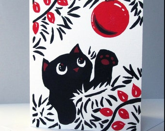 Cat Christmas Card Silkscreen A6 Greeting Card Cat Lover Screen Print