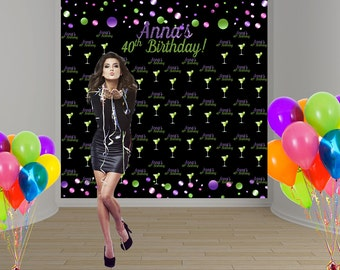 Confetti 40th Birthday Party Personalized Photo Backdrop - Milestone Photo Backdrop- Step and Repeat Photo Booth Backdrop