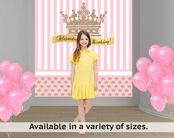 Gold Crown Pink Party Personalized Photo Backdrop - Princess Baby Shower Backdrop - Sweet 16th Photo Backdrop - Custom Backdrop