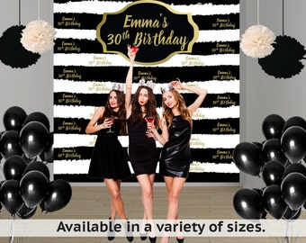 Birthday Stripes Personalized Photo Backdrop, Milestone Photo Backdrop, 30th Birthday, Step and Repeat Backdrop, Black and White Stripes