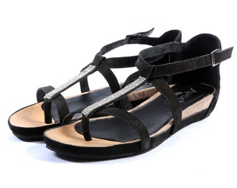 Womens Leather Fashion Sandals-BLACK