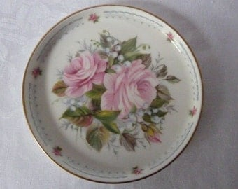 """Royal Kent China Wine Champagne Wedding Coaster Pink Roses Lilies of the Valley 5 1/4"""""""
