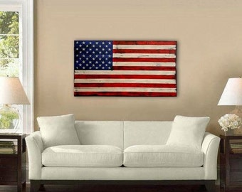 Large Distressed American Flag, Distressed Wood, USA, Rustic Wall Art