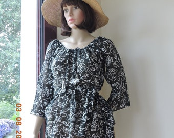 blouse shirt tunic black and white pure cotton voile Indian 3/4 sleeves
