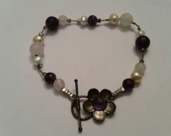 Vintage Sterling Silver Israel Pearl Purple Stone Flower Bracelet