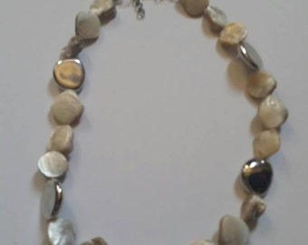 Vintage Abalone and Silver Bead Necklace