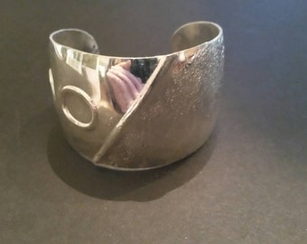 Silver Cuff Bracelet Textured Circle Costume Jewelry